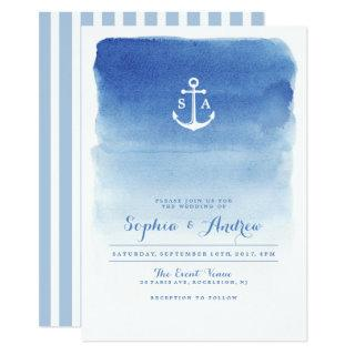 Modern watercolor nautical anchor beach wedding Invitations