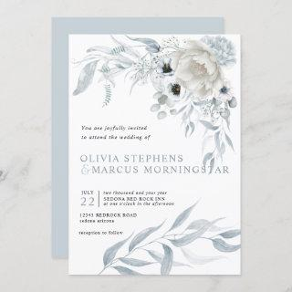 Modern Watercolor Pale Dusty Blue Floral Invitations