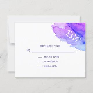 Modern Watercolor Purple Blue RSVP Insert Cards