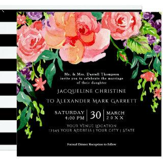 Modern Watercolor Rose Floral Wedding Black Ground Invitation