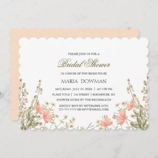 Modern Watercolor wild flower Floral Bridal Shower Invitations