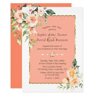 Modern Watercolour Flowers Living Coral Wedding Invitation