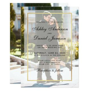Modern Wedding Overlay Front Back Photo Invitations