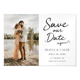 Modern Wedding Save our Date Again Magnetic Magnetic Invitations