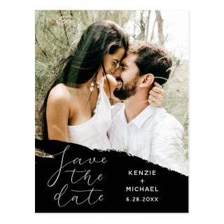 Modern Wedding Save the Date Photo & Brushstroke Postcard