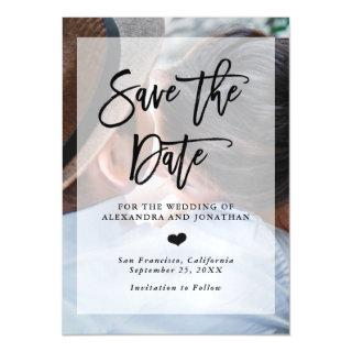 Modern Wedding Save the Date   Photo with Overlay Magnetic Invitation