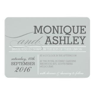 MODERN WEDDING simple bold text monochrome gray Invitations