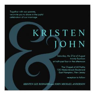 Modern Wedding Typography Teal Blue Black Invitation