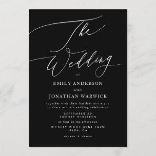 Modern White and Black Simple Wedding Invitation
