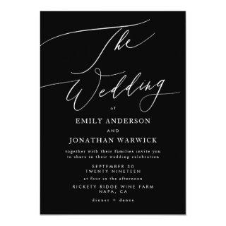 Modern White and Black Simple Wedding Invitations