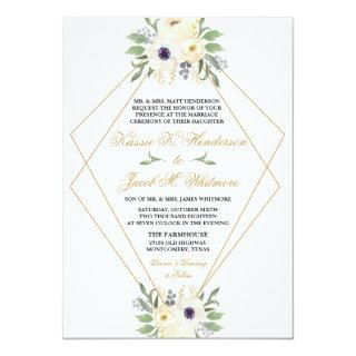 Modern White and Gold Geometric Floral Invitations