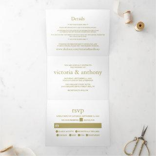 Modern White and Gold Wedding Suite Tri-Fold Invitations