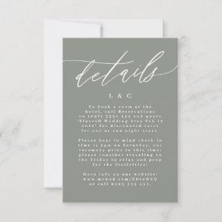 Modern White and Moss Green Simple Enclosure Card