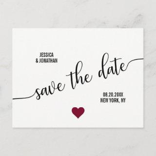 Modern White Black BURGUNDY Wedding SAVE THE DATE Announcement Postcard