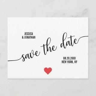 Modern White Black RED Heart Wedding SAVE THE DATE Announcement Postcard