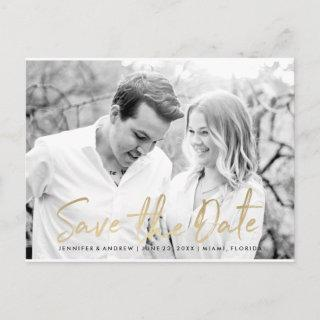 Modern White Marble Gold Script | Save The Date Announcement Postcard