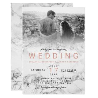Modern white marble ombre simple photo wedding Invitations