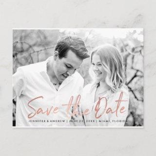 Modern White Marble Rose Gold Script Save The Date Announcement Postcard