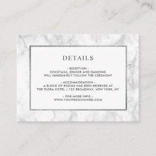Modern White Marble Wedding Details Enclosure Card