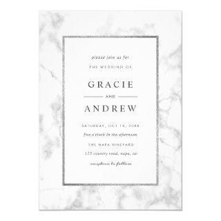 Modern White Marble Wedding Invitation