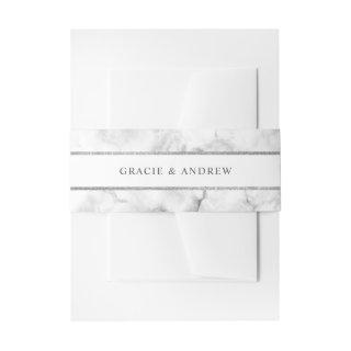 Modern White Marble Wedding Invitation Belly Band