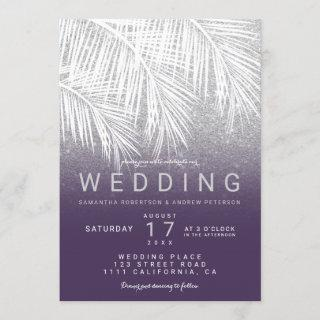 Modern white palm tree silver purple wedding invitation