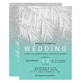 Modern white palm tree silver turquoise wedding invitation