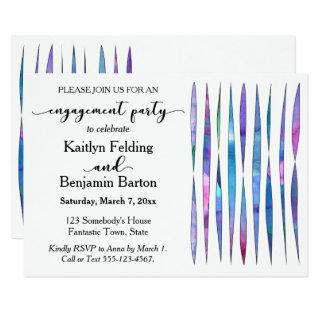 Modern White Purple, Pink, Blue Engagement Party Invitations