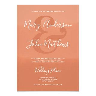Modern white terracotta gradient ampersand wedding invitation