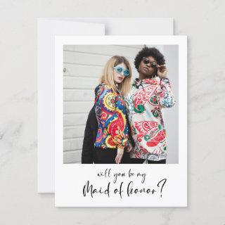 Modern Will you be my maid of honor photo card