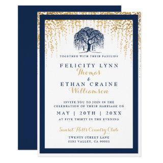 Modern Willow Tree Navy Gold Wedding Invitations