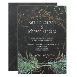 Modern winter nature chalkboard watercolor wedding Invitations