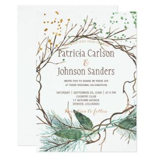 Modern winter nature wreath watercolor wedding invitation