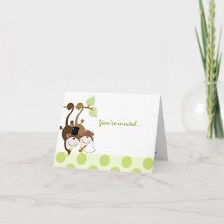 Monkey Couple in Tree Whimsical Anniversary Card