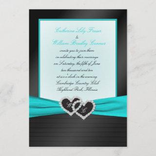 Monogram Black FAUX Satin Pleats with Aqua Invite
