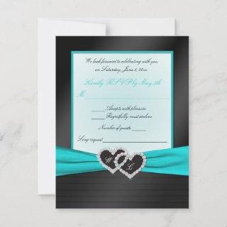 Monogram Black FAUX Satin Pleats with Aqua RSVP