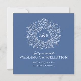 Monogram blue leaves wedding cancellation announcement