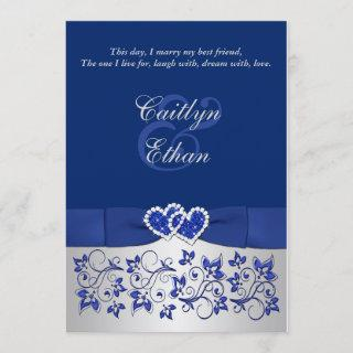 Monogram Blue, Silver Floral Wedding Invitations