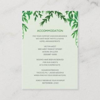 Monogram Botanical Greenery accommodation card