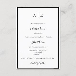 Monogram frame rehearsal dinner invitations