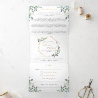 Monogram Gold Leaf Tri-fold Wedding Invitations