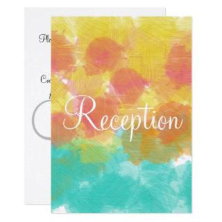 Monogram Gouache Watercolor Pink Blue Yellow Invitation