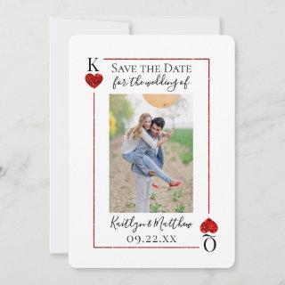 Monogram Playing Card Wedding Photo Save The Date