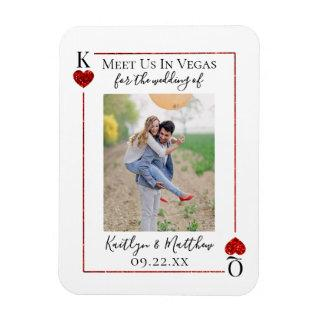 Monogram Playing Card Wedding Photo Save The Date Magnet