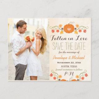 Monogram Pumpkin Fall Wedding Save the Date Announcement Postcard
