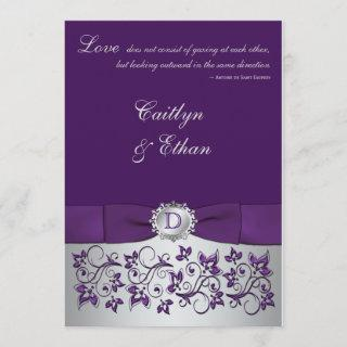 Monogram Purple, Silver Floral Wedding Invitations