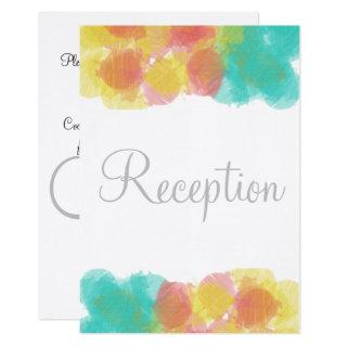 Monogram Watercolor Pink Yellow Blue Reception Invitations