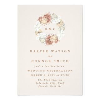 Monogram Wreath Pampas Grass Floral Tropical Blush Invitations