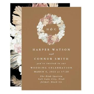 Monogram Wreath Pampas Grass Floral Tropical Invitations
