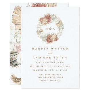 Monogram Wreath Pampas Grass Floral Tropical White Invitation